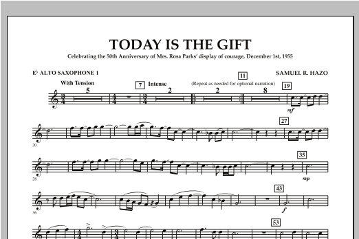 Today Is The Gift - Eb Alto Saxophone 1 Sheet Music