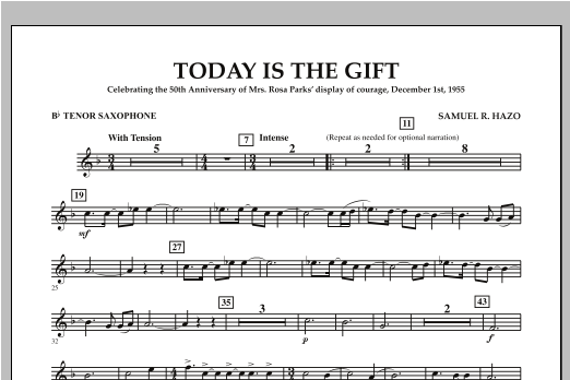 Today Is The Gift - Bb Tenor Saxophone Sheet Music