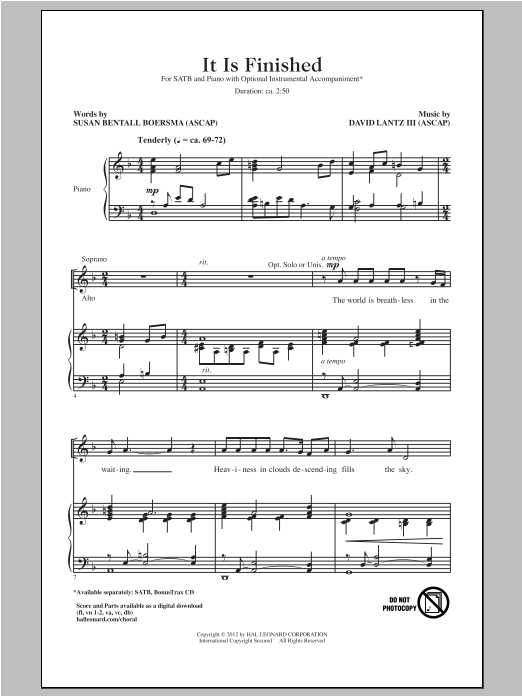 It Is Finished Sheet Music