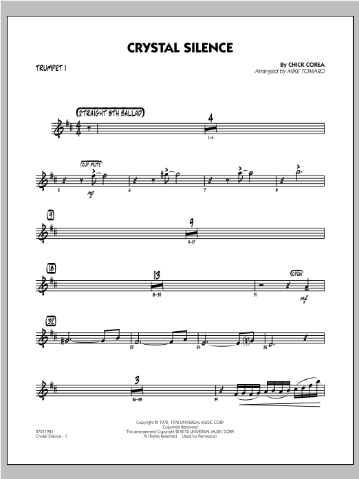 Crystal Silence - Trumpet 1 Sheet Music