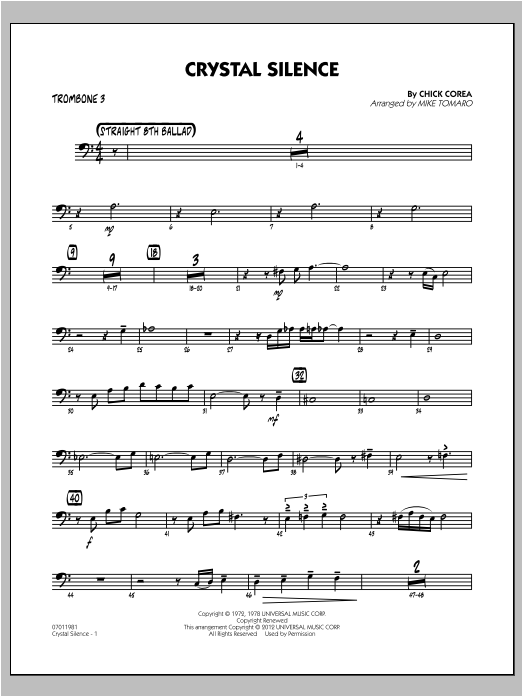 Crystal Silence - Trombone 3 Sheet Music