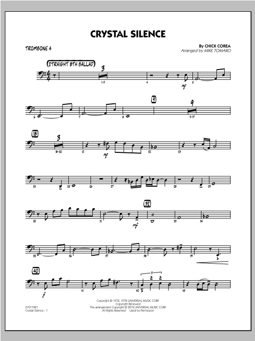 Crystal Silence - Trombone 4 Sheet Music