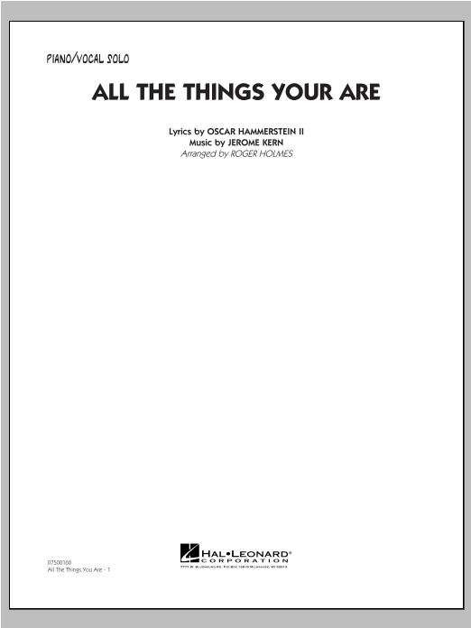 All The Things You Are - Piano/Vocal Sheet Music
