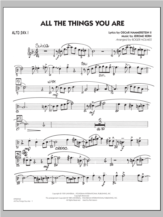 All The Things You Are - Alto Sax 1 Sheet Music