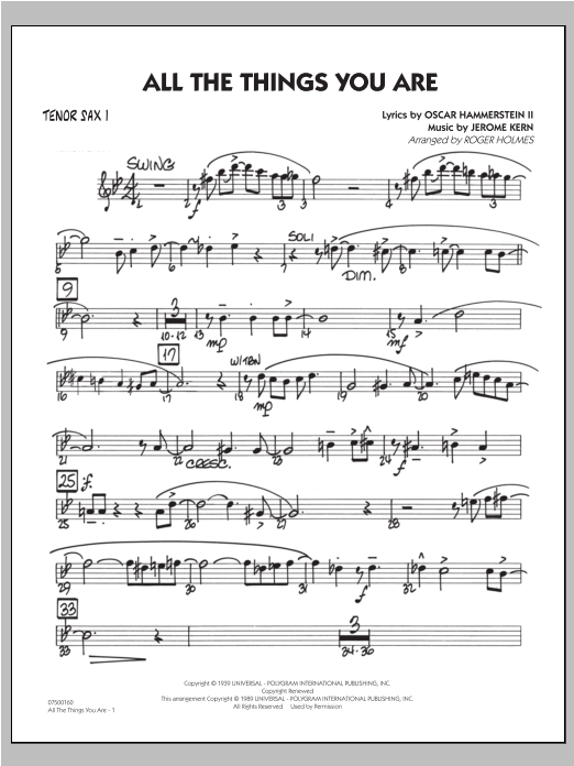 All The Things You Are - Tenor Sax 1 Sheet Music