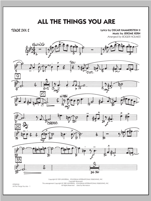 All The Things You Are - Tenor Sax 2 Sheet Music