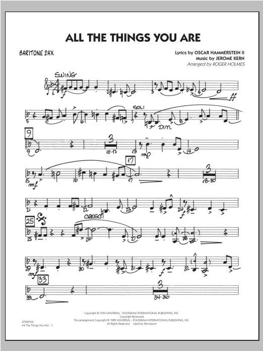 All The Things You Are - Baritone Sax Sheet Music
