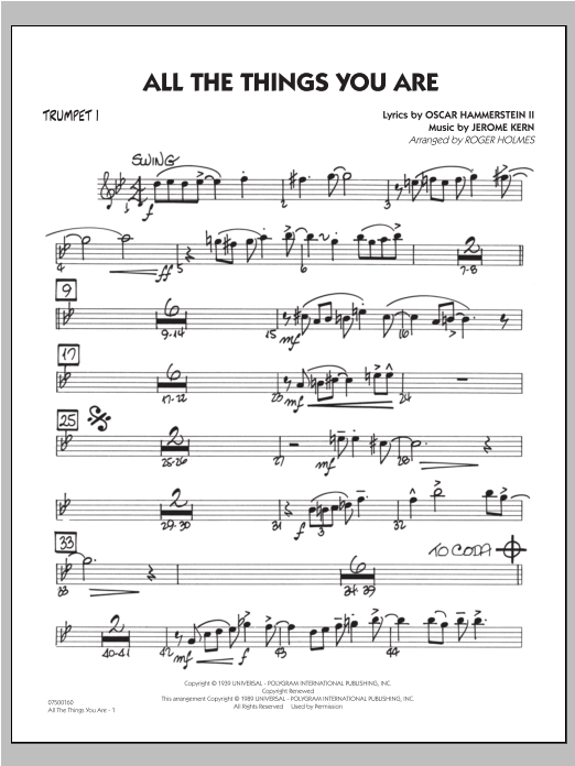 All The Things You Are - Trumpet 1 Sheet Music