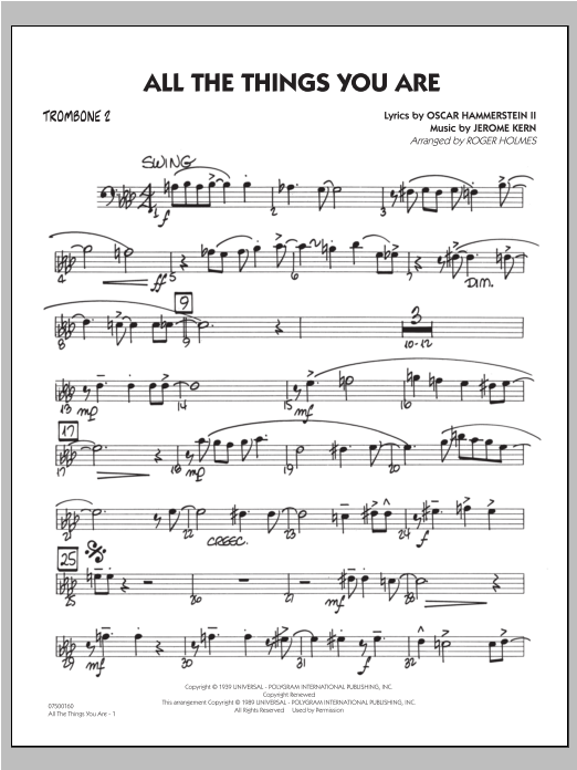 All The Things You Are - Trombone 2 Sheet Music