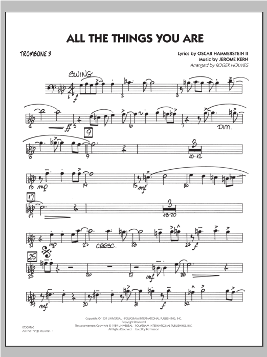 All The Things You Are - Trombone 3 Sheet Music