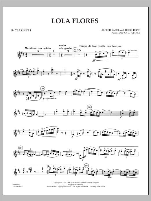 Lola Flores - Bb Clarinet 1 Sheet Music