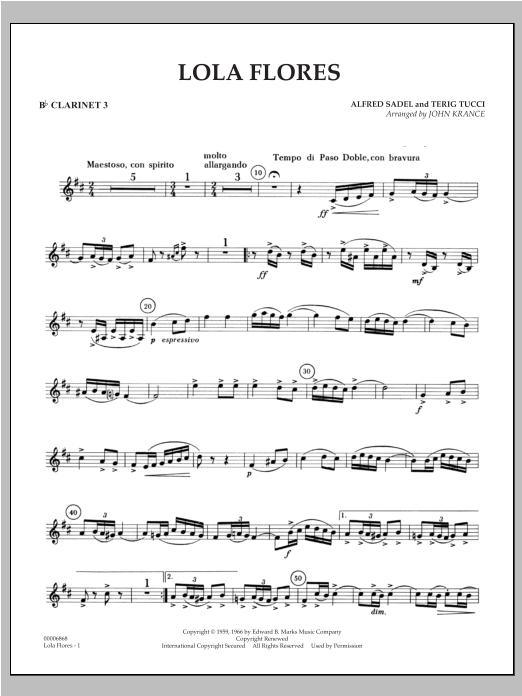 Lola Flores - Bb Clarinet 3 Sheet Music