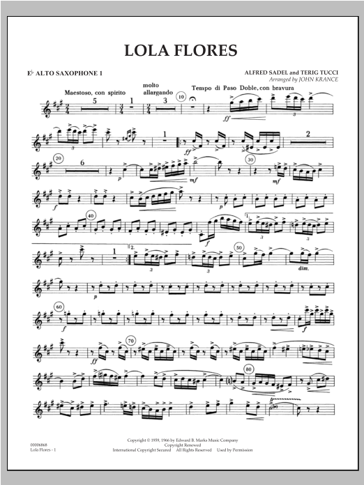 Lola Flores - Eb Alto Saxophone 1 Sheet Music