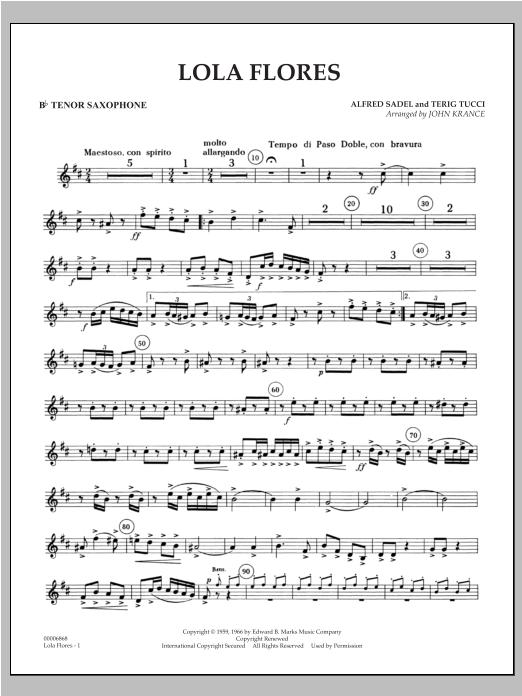 Lola Flores - Bb Tenor Saxophone Sheet Music