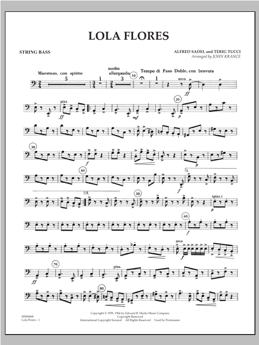 Lola Flores - String Bass Sheet Music