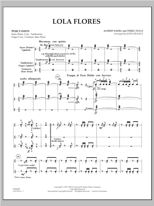 Lola Flores - Percussion Sheet Music