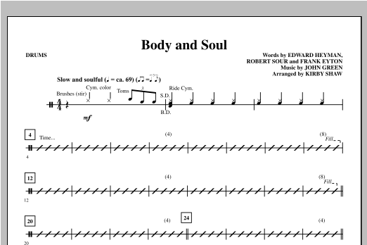 Body And Soul - Drums Sheet Music