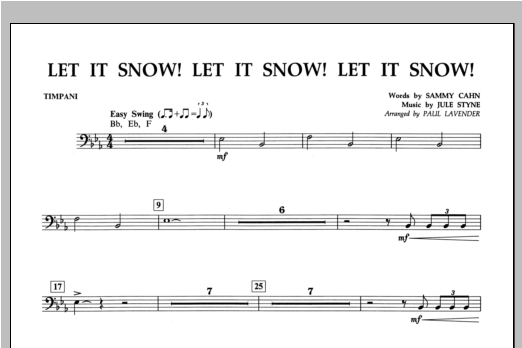 Let It Snow! Let It Snow! Let It Snow! - Timpani Sheet Music