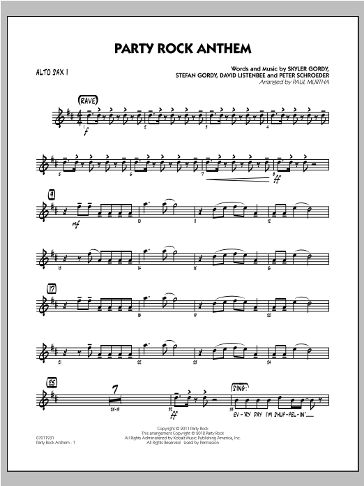 Party Rock Anthem - Alto Sax 1 Sheet Music