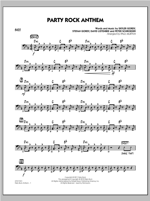 Party Rock Anthem - Bass Sheet Music