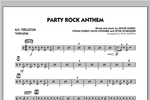 Party Rock Anthem - Aux Percussion Sheet Music