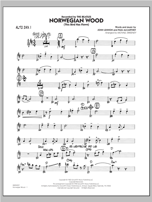 Norwegian Wood (This Bird Has Flown) - Alto Sax 1 Sheet Music