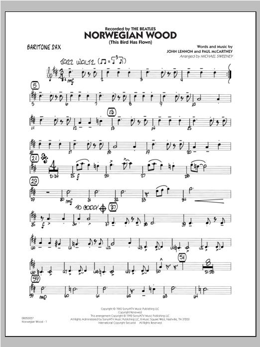 Norwegian Wood (This Bird Has Flown) - Baritone Sax Sheet Music