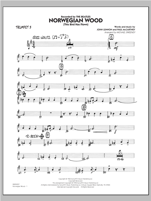Norwegian Wood (This Bird Has Flown) - Trumpet 3 Sheet Music