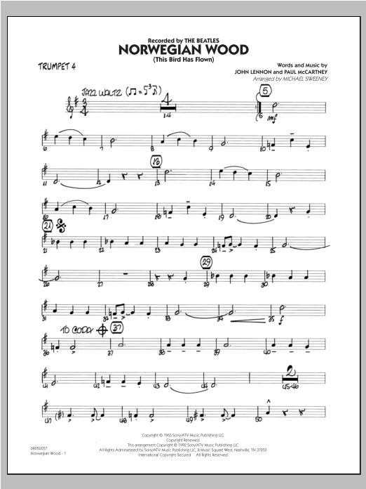 Norwegian Wood (This Bird Has Flown) - Trumpet 4 Sheet Music