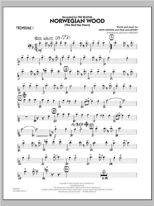 Norwegian Wood (This Bird Has Flown) - Trombone 1 Sheet Music