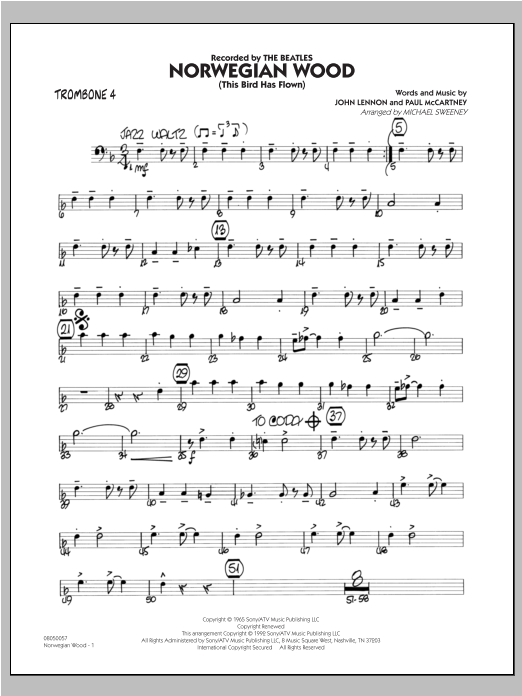 Norwegian Wood (This Bird Has Flown) - Trombone 4 Sheet Music