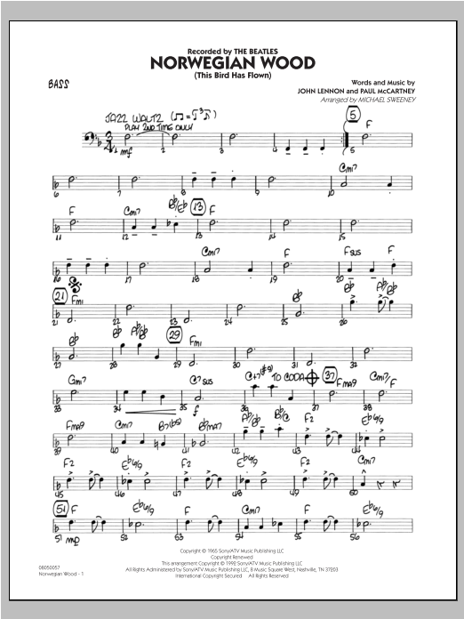 Norwegian Wood (This Bird Has Flown) - Bass Sheet Music