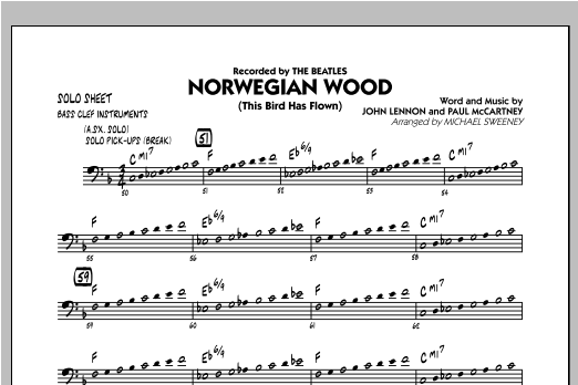 Norwegian Wood (This Bird Has Flown) - Bass Clef Solo Sheet Sheet Music