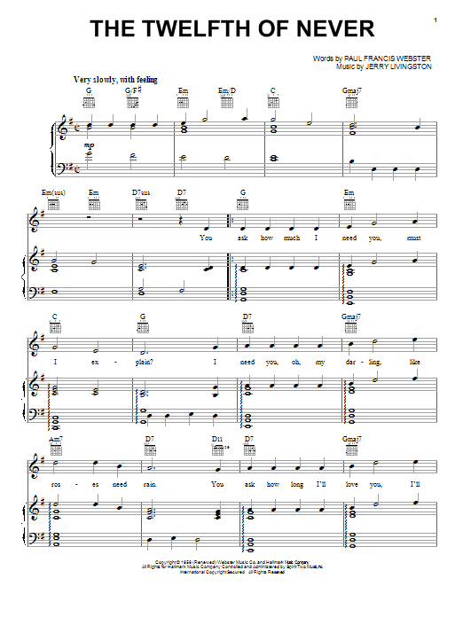 The Twelfth Of Never Sheet Music