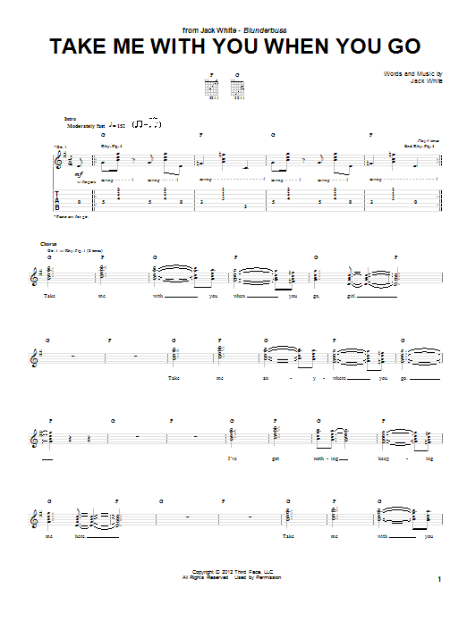 Take Me With You When You Go (Guitar Tab)