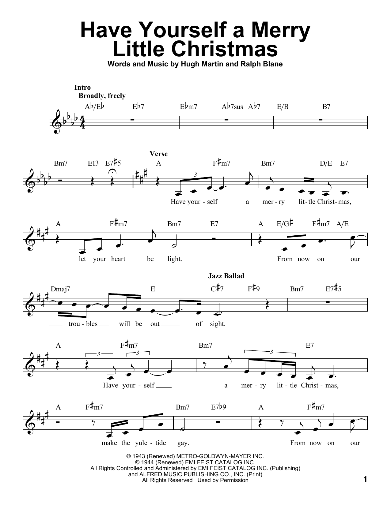 Have Yourself A Merry Little Christmas Lead Sheet.Sheet Music Digital Files To Print Licensed Hugh Martin
