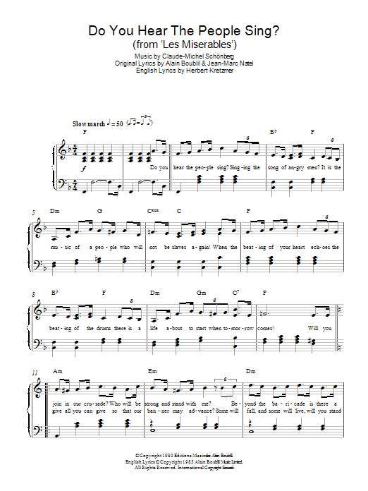 Do You Hear The People Sing From Les Miserables Sheet Music To Download