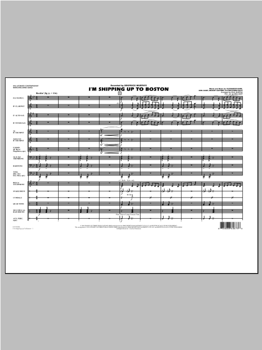 I'm Shipping Up to Boston (COMPLETE) sheet music for marching band by Paul Murtha, Alexander Barr, Will Rapp and Woody Guthrie. Score Image Preview.