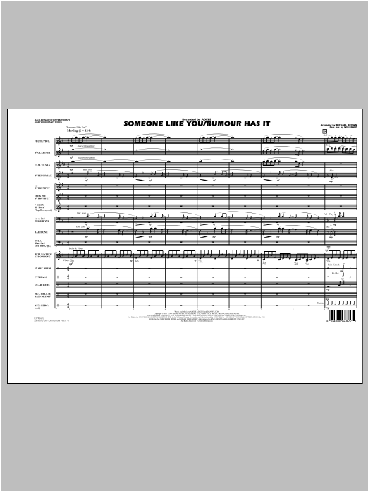 Someone Like You/Rumour Has It (COMPLETE) sheet music for marching band by Adele and Michael Brown. Score Image Preview.