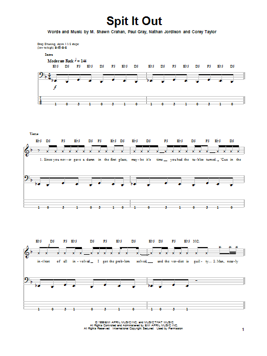 Spit It Out (Bass Guitar Tab)