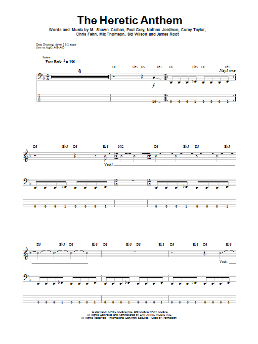 The Heretic Anthem Sheet Music