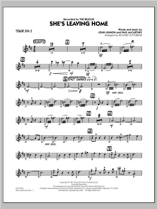 She's Leaving Home - Tenor Sax 2 Sheet Music
