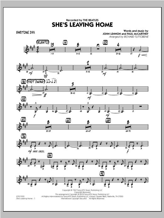 She's Leaving Home - Baritone Sax Sheet Music