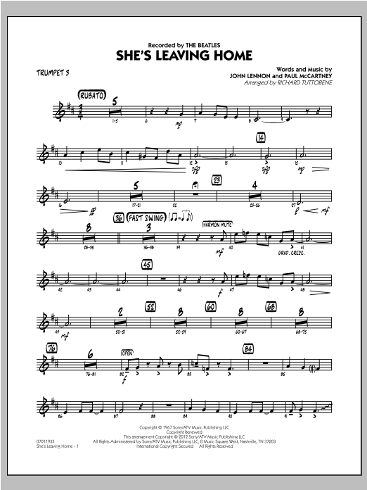 She's Leaving Home - Trumpet 3 Sheet Music