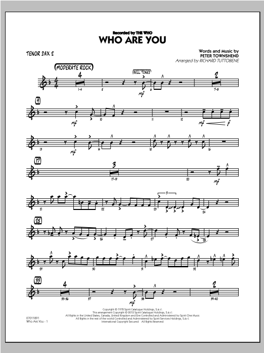 Who Are You - Tenor Sax 2 Sheet Music