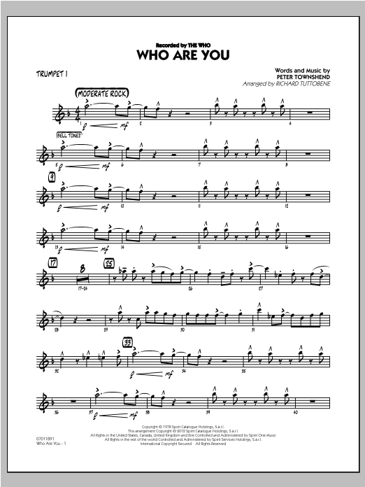 Who Are You - Trumpet 1 Sheet Music