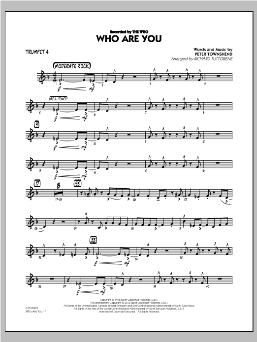 Who Are You - Trumpet 4 Sheet Music