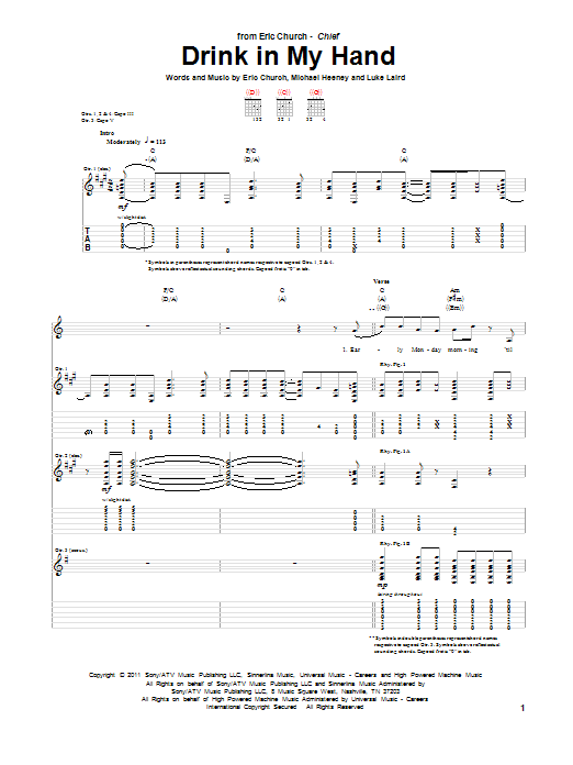 Tablature guitare Drink In My Hand de Eric Church - Tablature Guitare