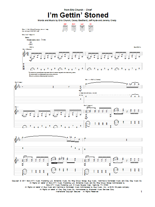 Tablature guitare I'm Gettin' Stoned de Eric Church - Tablature Guitare