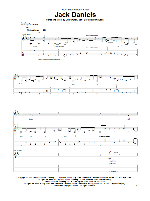 Piano church piano chords : Jack Daniels Guitar Tab by Eric Church (Guitar Tab – 92933)